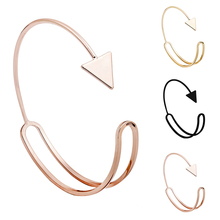 Fashion Geometric Bangle Simple and generous triangular arrow irregular smooth double-layer open cuff bracelet for Women Jewelry
