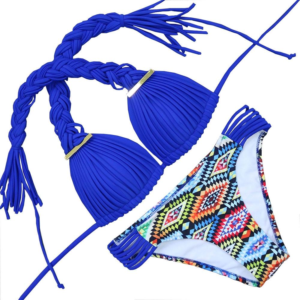 2017 new swimsuit braid printed swimming suit sexy split bikini tanga thong swimwear women padded strappy bra push up badpak SML staerk bikini tanga 2017 direct selling promotion swimming suit bralette retro swim for women saxy ladies swimwear