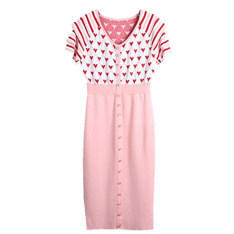Robes minoritaires françaises montrent col en v aimant rayure à manches courtes tricoté femmes au printemps et en été 2019
