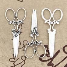10pcs Charms scissors 61*25mm Hollow Antique,Zinc alloy pendant fit,Vintage Tibetan Silver,DIY for bracelet necklace