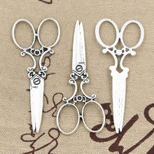 10pcs Charms sewing scissors 61x25mm Antique Silver Plated Pendants Making DIY Handmade Tibetan Silver Jewelry(China)