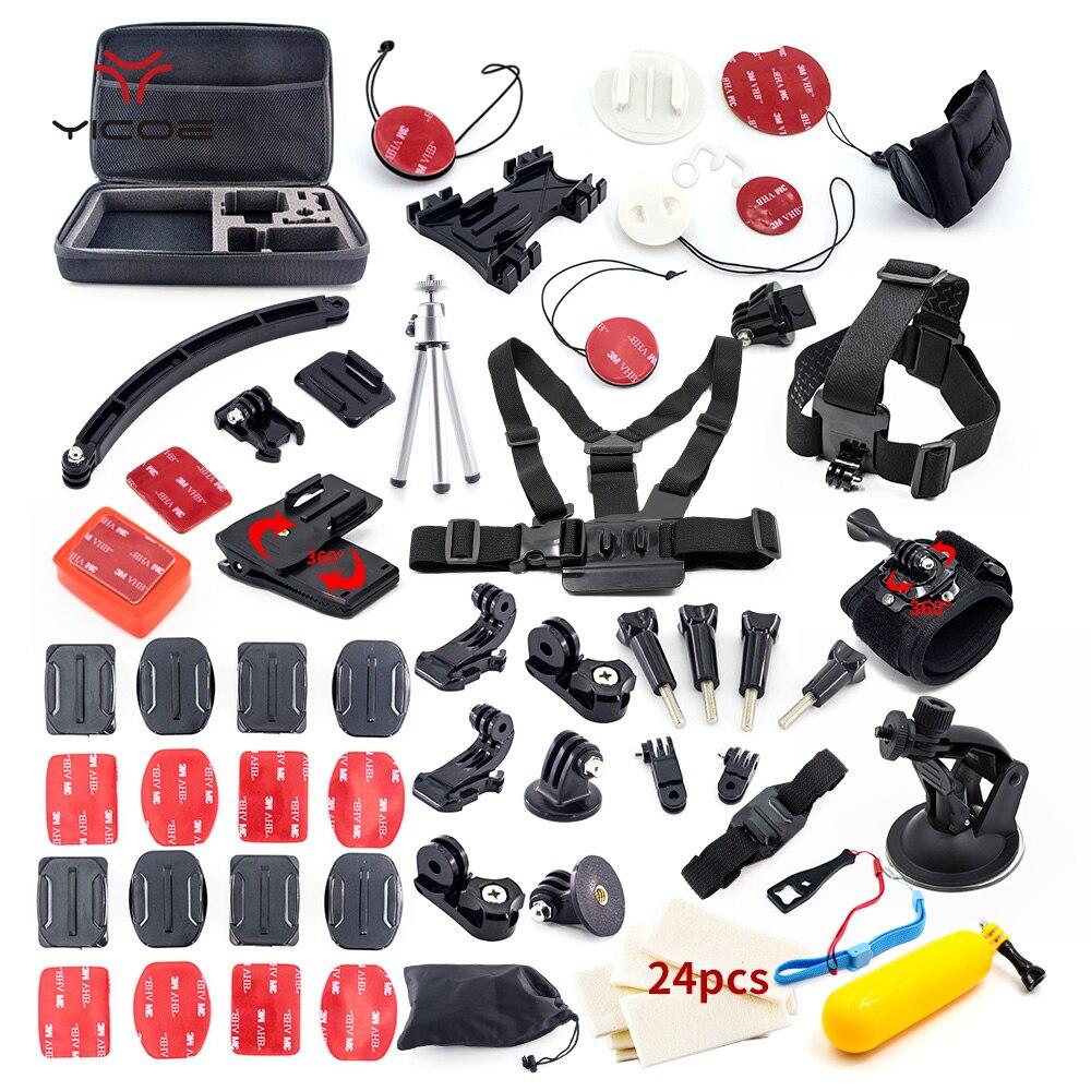Pour Gopro hero7 6 5 4 3 xiaomi yi 4 k mijia accessoires Kit trépied Stick Mount casque Surf Kit Go Pro Session SJCAM caméra d'action