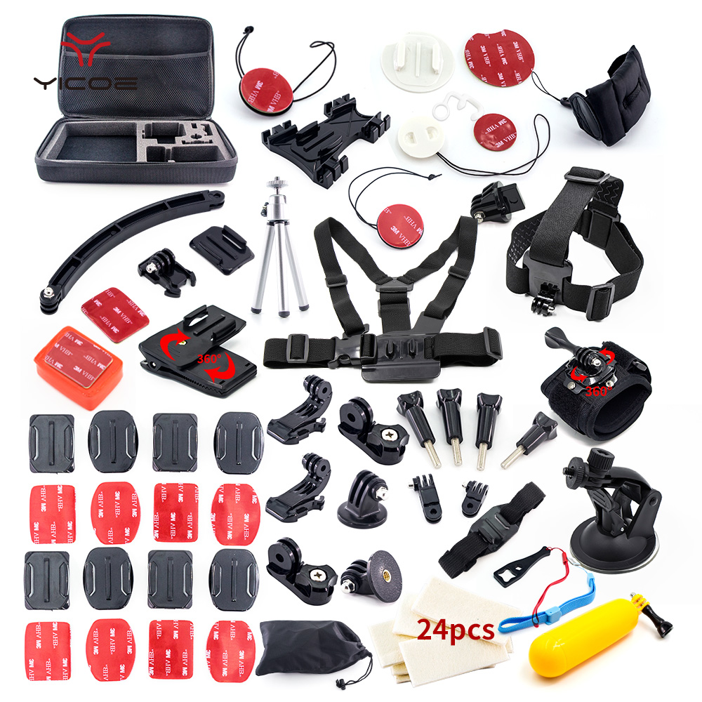 for Gopro hero7 6 5 4 3 xiaomi yi 4k mijia Accessories Kit Tripod Stick Mount Helmet Surf Kit Go Pro Session SJCAM Action Camera joseph wardle from the thames to the tiber