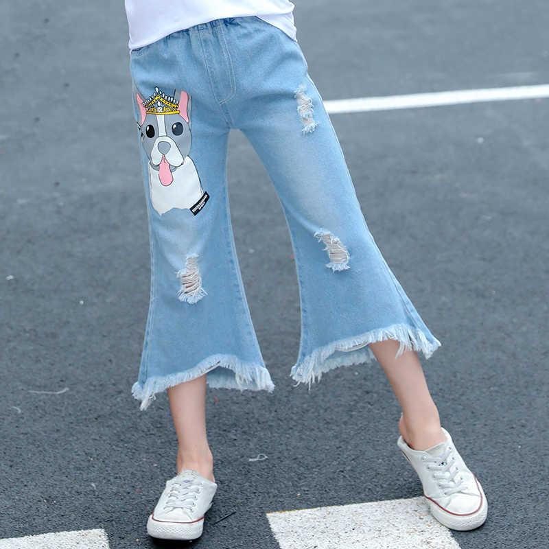 Vangull/2019 укороченные брюки для девочек, джинсы для маленьких девочек, новые корейские повседневные тонкие брюки, широкие брюки, детские летние штаны, порванные джинсы