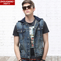 Denim vest male 2016 spring slim sleeveless top male jacket with a hood vest outerwear
