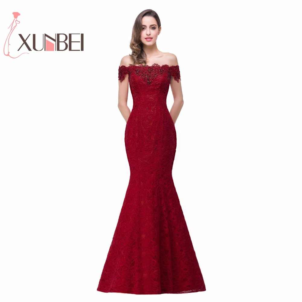 d1d50944749 In Stock Elegant Beads Lace Mermaid Long Evening Dress 2019 Cheap Red Prom  Dresses Robe De