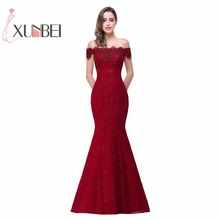 In Stock Elegant Beads Lace Mermaid Long Evening Dress Red Prom Dresses Robe De Soiree Off The Shoulder Party Dresses