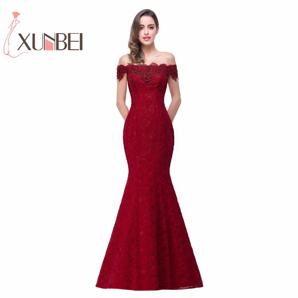 In Stock Elegant Beads Lace Mermaid Long   Evening     Dress   2019 Cheap Red Prom   Dresses   Robe De Soiree Off The Shoulder Party   Dress