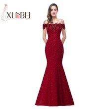 במלאי אלגנטי חרוזים תחרת בת ים ארוך שמלת ערב אדום שמלות נשף Robe De Soiree כבוי כתף מפלגה שמלות