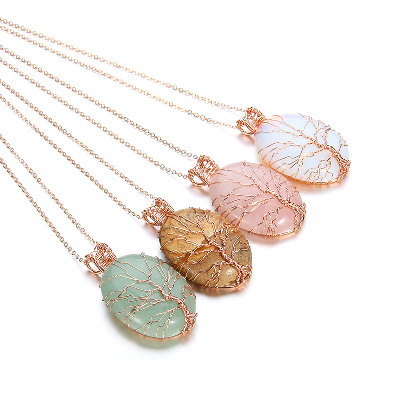 New natural crystal stone chakra opal necklaces & pendants Handmade Rose Gold Color Tree of Life Wrapped quartz stone pendant