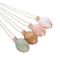 New tinh thể đá tự nhiên chakra opal dây chuyền & mặt dây Handmade Rose Gold Màu Tree of Life Bọc thạch anh đá mặt dây chuyền