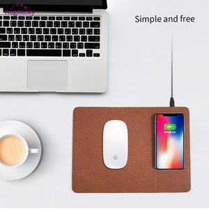 Image 3 - 2018 Handy Qi Wireless ladegerät Lade Maus Pad Matte PU Leder Mousepad für iPhone X/8 Plus Samsung s8 Plus/Hinweis 8