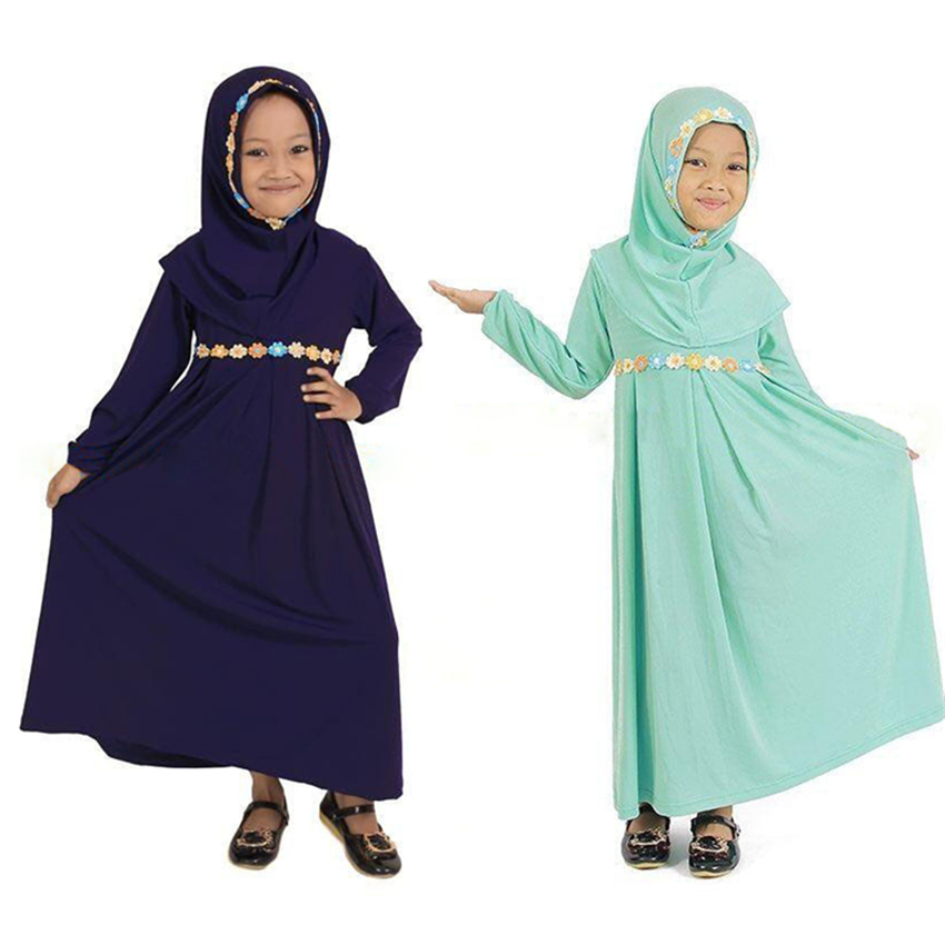 Kids Abaya Girls Dress Muslim Abaya Kaftan Dubai Green Long Sleeve Dress+Hijab Robe Arabe Islamic Clothing 1-5 Years Girls Robes