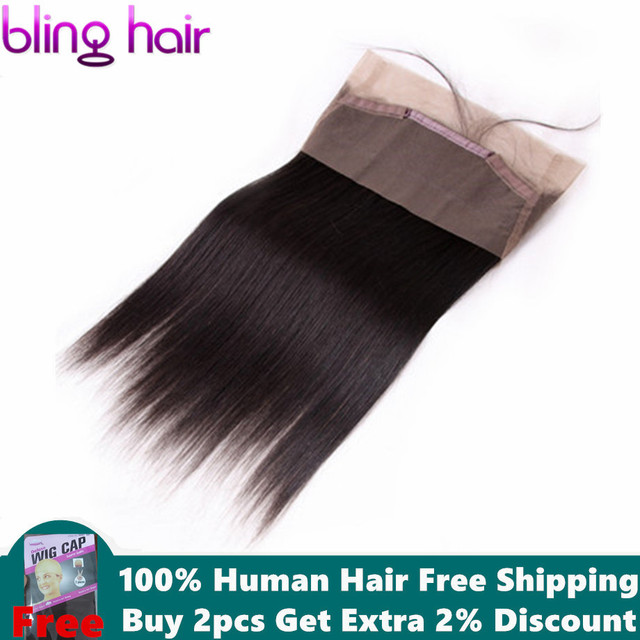 Bling włosy 360 koronka Frontal zamknięcie brazylijski proste 100% Remy ludzki włos uzupełnienie splotu ludzkich włosów z dzieckiem włosy darmo częścią naturalna linia włosów