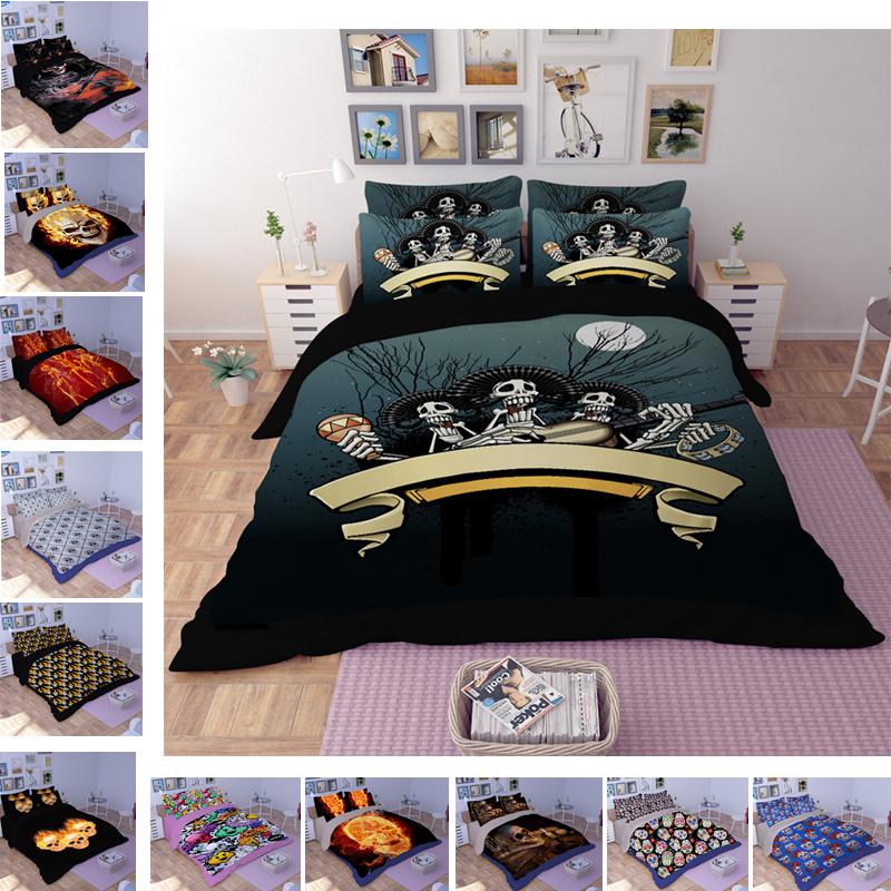 Children's Bed Linens Set Nightmare Before Christmas Bedclothes 3D Skull Series Halloween Gift Duvet Cover Bedding Set for Full