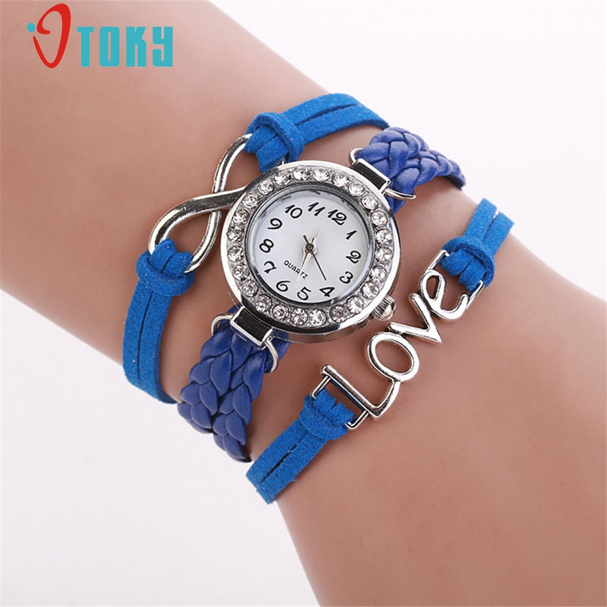 OTOKY Wristwatch Fashion Women Infinity Love Hand-knitted Faux Leather Chain Quartz Watch Bracelet Watches dress #30 Gift 1pcs