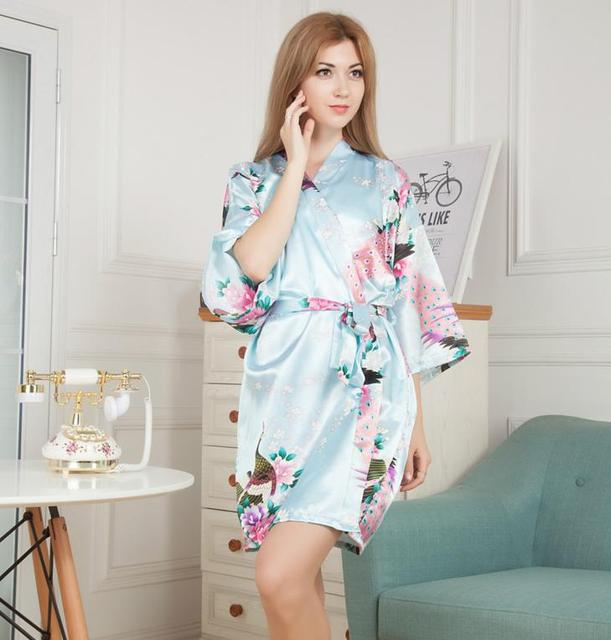 NUO 2017 Summer Female Stain Floral Bathrobe Kimono Dressing Gown ...