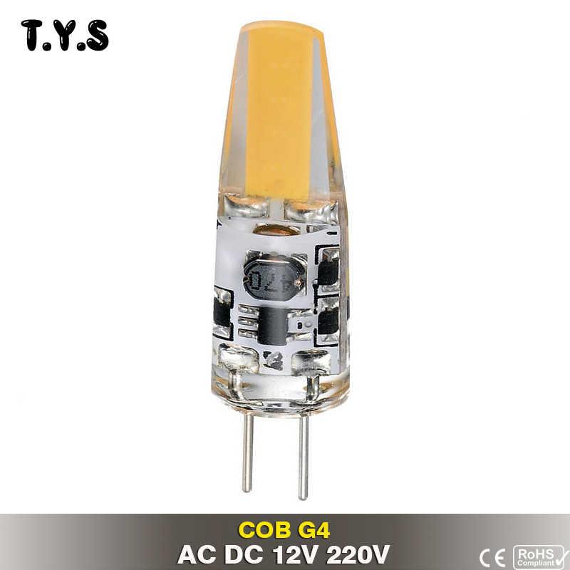 Светодиодный светильник G4 светодиодный AC DC затемнение 12 В 220 В COB G4 лампа светодиодный домашнее ламповое освещение лампы заменить галогенный Светодиодный прожектор люстра