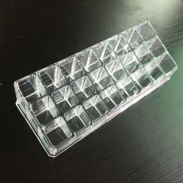 24 Grids Batom Exibição Titular De Armazenamento Caixa de Cosméticos de Cuidados Da Pele Recipiente compõem Escaninhos Trapézio de Espessura Claro Caso Organizador Prateleira