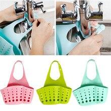 Adjustable Kitchen Button Hanging Basket Storage Pocket Sink Sponge Shelf Holder