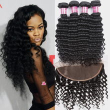 Yvonne Mink Brazilian Virgin Hair Deep Wave Hair With Closure Brizilian Human Hair 4 Bundles Lace Frontal Closure With Bundles