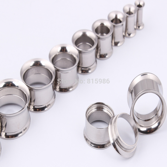 2pcslot Body Jewelry Stainless Steel Double Flared Internally