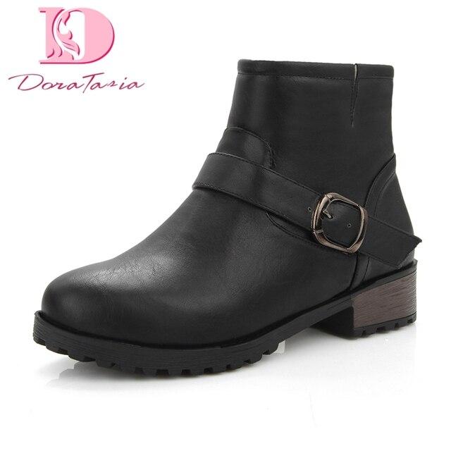 Doratasia en kaliteli tıknaz topuk Büyük Boy 34-43 kadın ayakkabısı Kadın Botları pu deri Kış bileğe kadar bot Kadın Ayakkabı patik