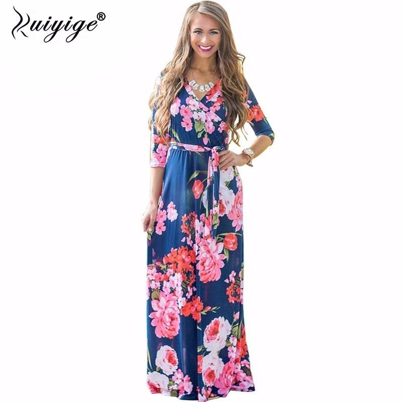 2018 Summer Dress Sexy Deep V Neck Beach Casual Tunic Femme Vestidos Half Sleeve Boho Floral Printed Women Long Maxi Dresses