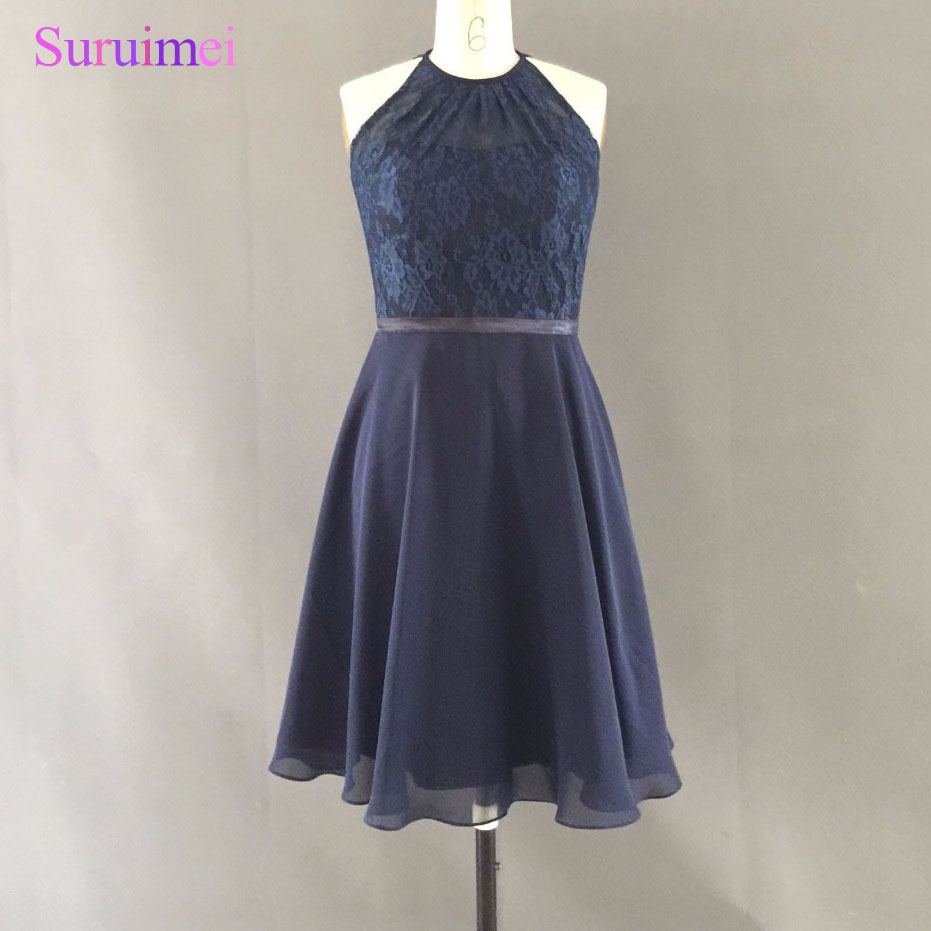Short Navy Blue Bridesmaid Dress High Neck Cutout Back ...