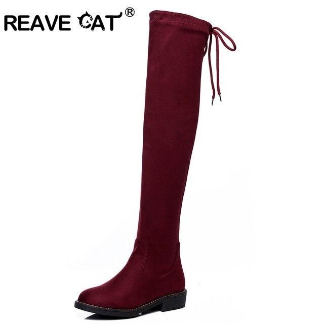 REAVE GATO Mulheres botas 2017 Outono Inverno Moda Feminina Magro plana calcanhar sapatos De Couro Sobre o joelho Coxa esticar Tecido RL3554