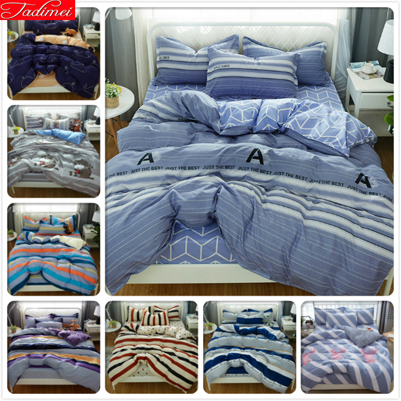 Grey White Stripe 3/4 pcs Bedding Set Adult Kids Child Duvet Cover Bed Linen Single Double Queen King Size Bedspreads Quilt CaseGrey White Stripe 3/4 pcs Bedding Set Adult Kids Child Duvet Cover Bed Linen Single Double Queen King Size Bedspreads Quilt Case