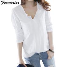 Modna bluzka damska biała koszula z długim rękawem damska koszula z kieszeniami damska Casual topy przylegająca elegancka damska biała bluzka 2020 E271 tanie tanio foxmertor Linen Poliester COTTON CN (pochodzenie) Wiosna jesień REGULAR V-neck WOMEN NONE Pełna Na co dzień Suknem Stałe