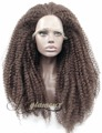 African American Brown Hair Kinky Curly Synthetic Lace Front Wigs for Women Half Hand Tied Heat Resistant 100% Fiber