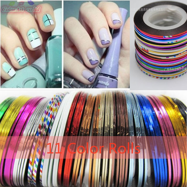Multicolored Rolls Striping Tape Line Diy Nail Art Tips Decoration Sticker Tools Beauty