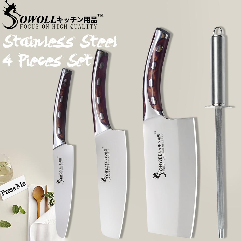 SOWOLL acier inoxydable cuisine couteau de cuisson affûtage acier tige barre 4 pièces ensemble résine Fibre poignée utilitaire Chef couteaux à découper