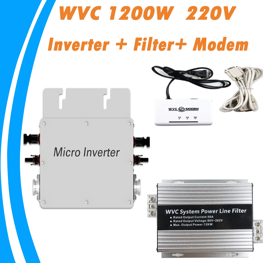 1200W 22V-50VDC Input 180V-260V Output Grid Tie Micro Inverter  Include WVC-Modem  WVC Systen Power Line Filter 2016 New Arrival solar power on grid tie mini 300w inverter with mppt funciton dc 10 8 30v input to ac output no extra shipping fee