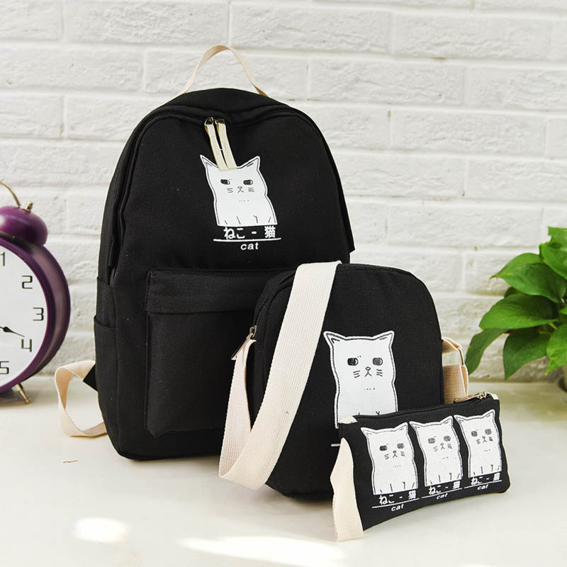 3Pcs set Canvas Backpacks Women Cute Cartoon Cat Printing School Bags for Teenager Girls Backpacks Female