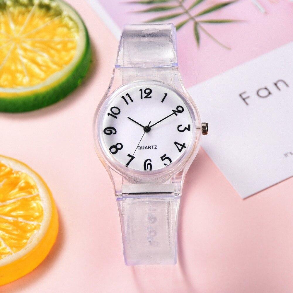 Watch Women Quartz Transparent Cartoon Lovely Girls Women Dress Wrist Watches Sport Casual Ladies Pink Watch 2019 New Styles