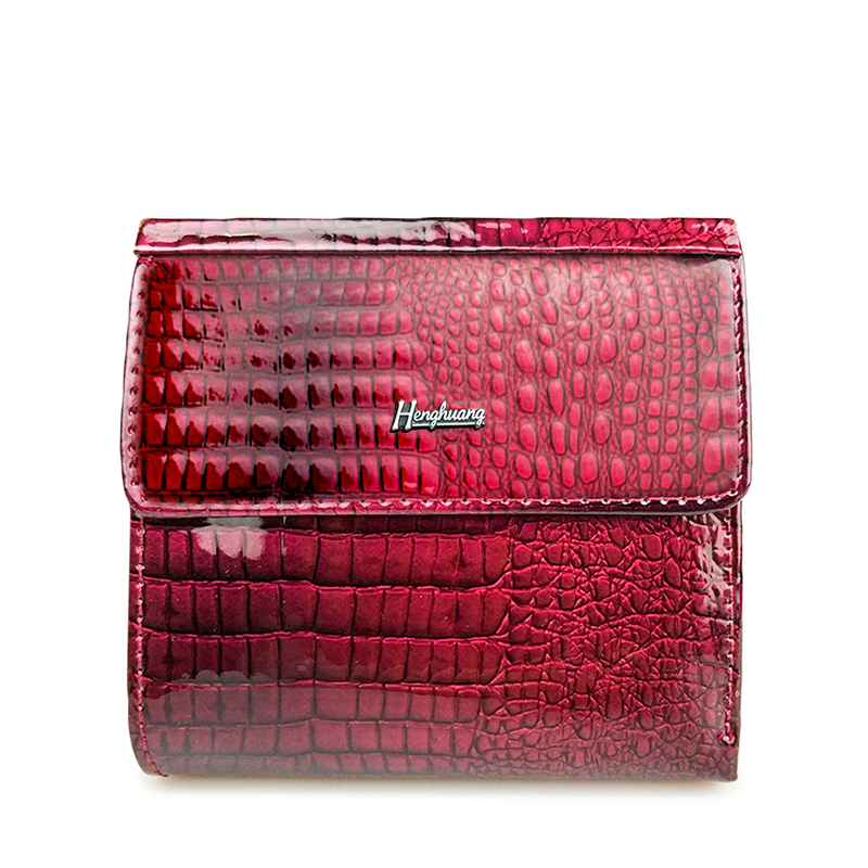 HH Women Wallet Patent Leather Lady Short Hasp Zipper Coin Card Holder Purse Mini Wallets Female Luxury Alligator Purses