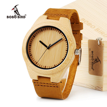 BOBO BIRD Lovers' Dress Wooden Watches Natural Wood Handmade Cool Wristwatches With Real leather bands