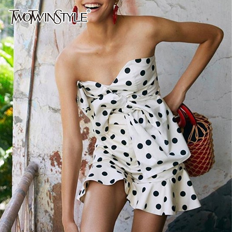 TWOTWINSTYLE Polka Dot Women's Summer Suits Two Piece Set Slash Neck Tops Female With High Waist Ruffles Hem Shorts Fashion New