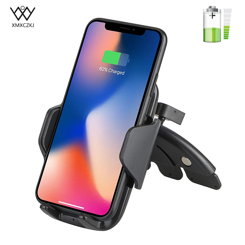 XMXCZKJ Qi Wireless Car Charger For iPhone X 8/8 Plus CD Slot Mount Car Stand Phone Holder Quick Fast Charge For Samsung Note 8|Phone Holders & Stands| |  - title=