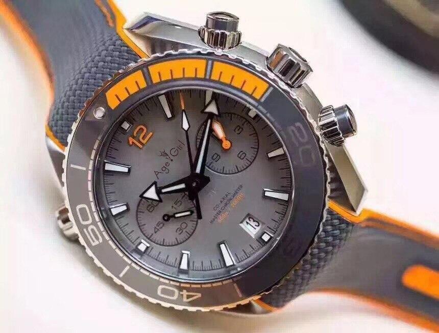 Элитный бренд новый для мужчин Professional спортивные часы нержавеющая сталь Оранжевый Черный Серый холст кожа Хронограф сапфир Limited