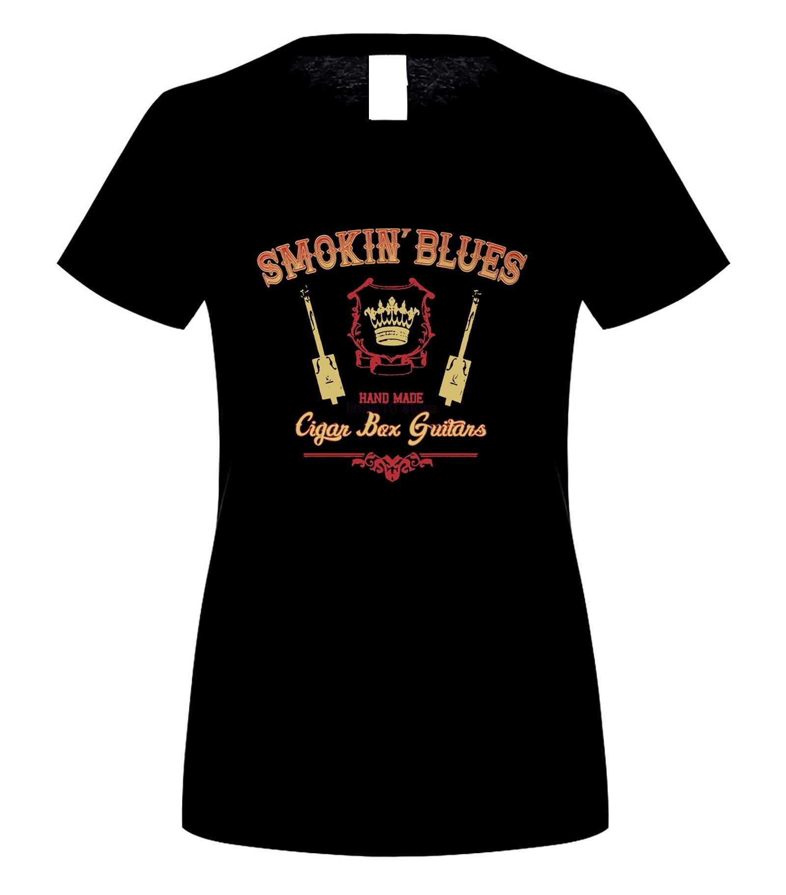 Smokin Blues กีตาร์กล่องซิการ์-Smokin' Hand Made Cigan เสื้อยืด Elegant Harajuku Tops แฟชั่นคลาสสิกที่ไม่ซ้ำกันจัดส่งฟรี