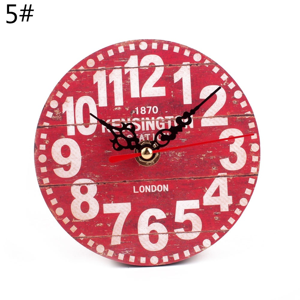 Wall Clock Wooden Circular Table Decor Vintage Rustic Shabby Style Desk Clock Antique Europe Home Decor Table Clocks D20