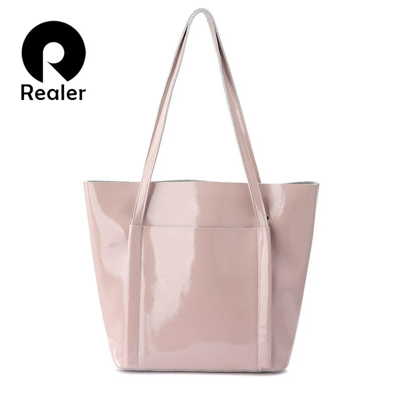 REALER Women Shoulder Bag Soft Patent Leather Tote Bag Female Handbags For Women Designer High Quality Summer Totes For Ladies