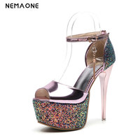 2019 New Women Shoes Size 34 43 Summer new ladies gold silver pink Sandals 14cm thin high heels wedding pumps