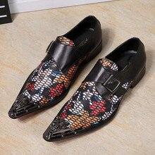 Christia Bella Fashion Men Shoes Genuine Leather Men Dress Shoes Floral Oxfords Shoes Men's Business Gentleman Formal Shoes