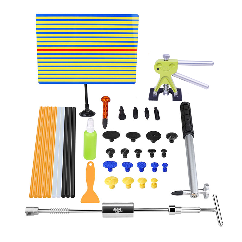 PDR Tools Paintless Dent Repair Auto Repair Tool Set Reflector Board Dent Puller Kit Mini Lifter Hammer Suction Cups Glue Tabs pdr rods kit with slider hammer dent lifter bridge puller set led line board glue stricks pro pulling tabs kit for pop a dent