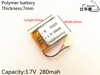 1pcs 3.7V,280mAH,702025 Polymer lithium ion / Li-ion battery for TOY,POWER BANK,GPS,mp3,mp4,cell phone,speaker image